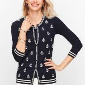 Cotton mix anchor embroidered cardigan